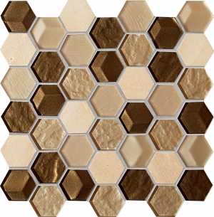 TUBADZIN DROPS STONE BROWN HEX мозаика
